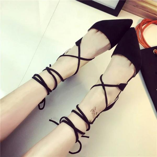 Sexy Pointed Stiletto Heel Tassels Strap Sandals