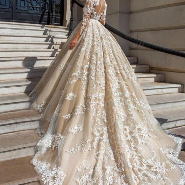 Wedding Dresses, Wedding Gown,elegant lace appliques v neck tulle ball gowns wedding dress 2017