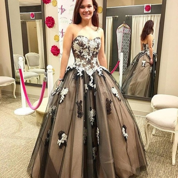 Cheap prom dresses 2017, Sweetheart Appliques Ball Gown Tulle Prom Dresses