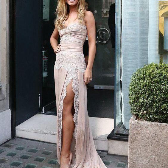 Cheap prom dresses 2017, One Shoulder Elegant Wedding Dresses,Lace And Chiffon Prom dresses ,Sexy side split Evening dresses.Formal gowns