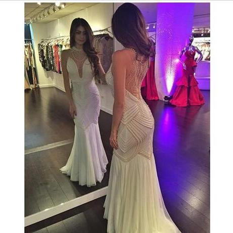 Cheap wedding dresses 2017,Sexy Mermaid Wedding Dresses White Chiffon High Neck Sleeveless with Pearls Open Illusion Back Sweep Train Custom Made Bridal Gowns