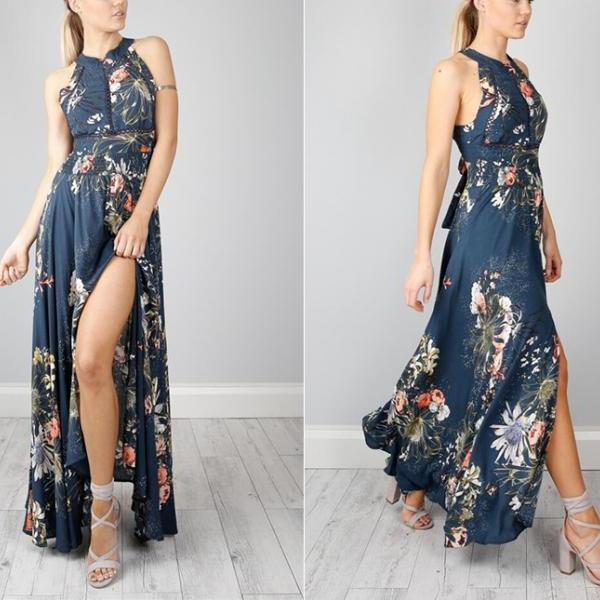Off Shoulder Boho Style O Neck Floral Print Hollow Out Women Dress