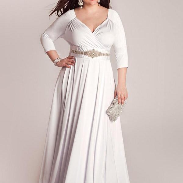 Whiteivory Three Quarter Sleeves Mother Of The Bride Dresses For