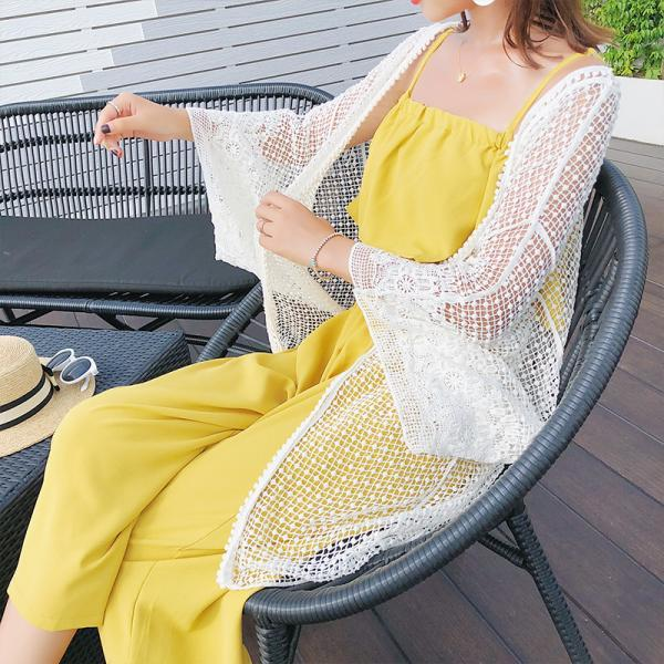 Open Front Open Knit Beach Cover Up - White One Size