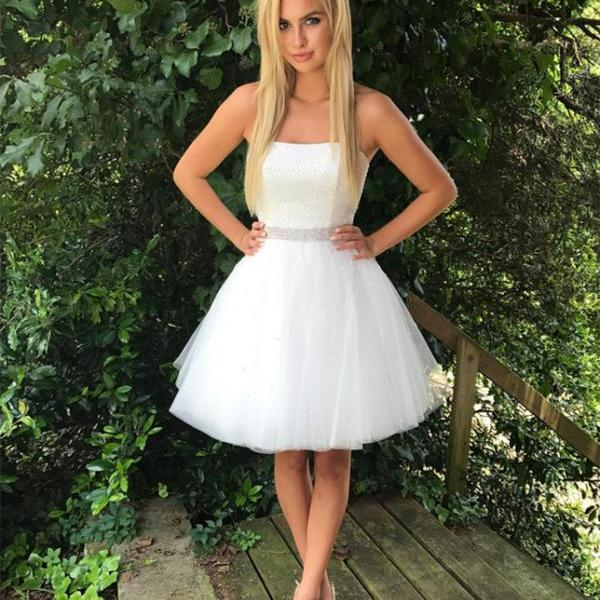 Beaded Homecoming Dresses 2017 ,White Homecoming Dress,