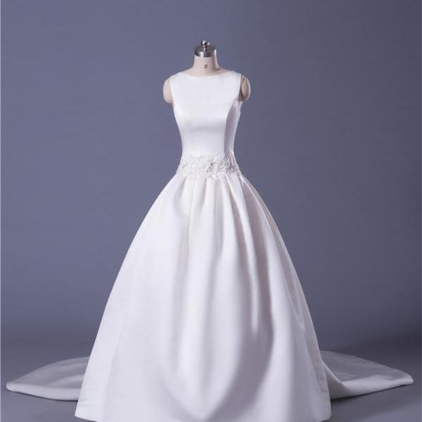 Soft Satin Ball Gown Wedding Dress With Detachable Train Floor Length Laced-up