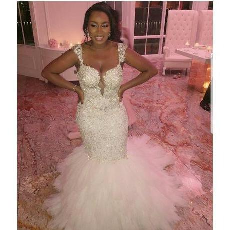 Luxury Beaded Appliques Tier Ruffles Bridal Church Formal Bridal Gowns African Wedding Gowns