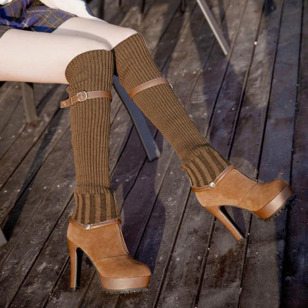 Removable Elastic Knee-High Canister Boots, Multifunction Boots, PU