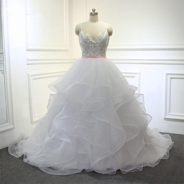 New Design Organza Ruffles With Embroidery Beading Bodice Bridal Wedding Dress