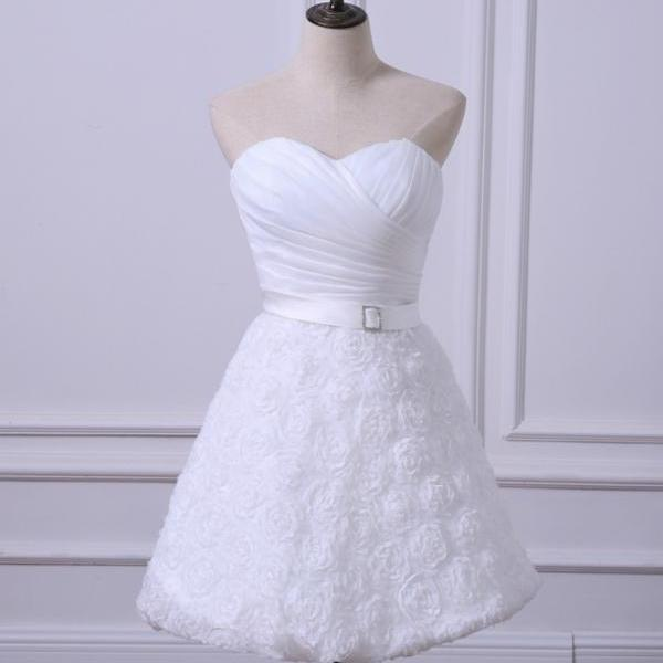 Short Wedding Reception Dresses Cheap White/Ivory Bridal Gown
