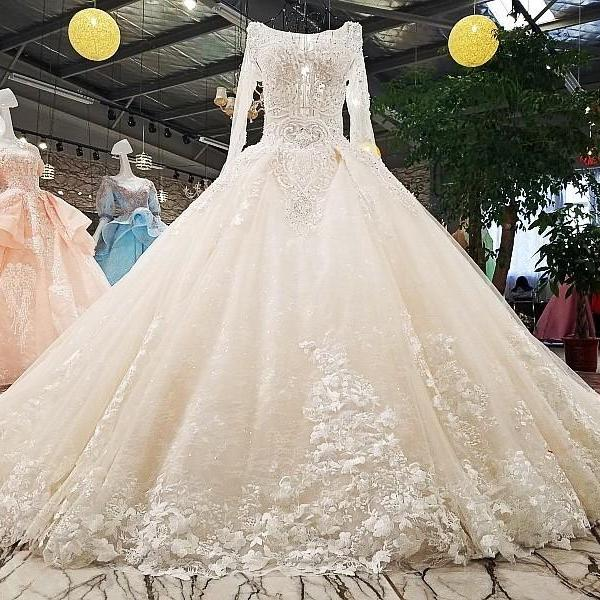 wedding dress o-neck full sleeves lace up backless flowers beading cathedral train ball gown floral print