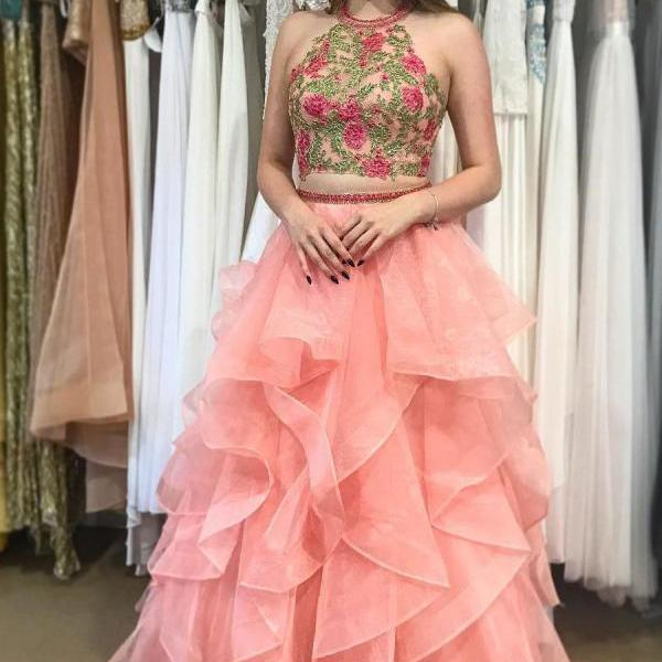 Pink Organza Long Prom Dresses Evening Dresses with Embroidery