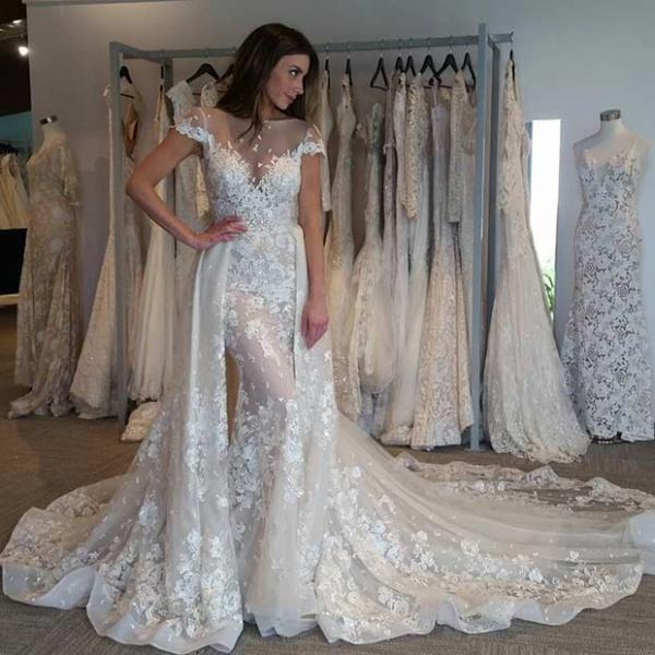 Sheer Neck Lace Wedding Dress With Mermaid Wedding Dress