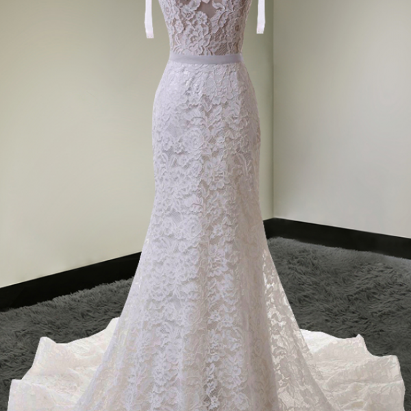 Sleeveless Plunging V Sheer Lace Mermaid Wedding Dress with V Back