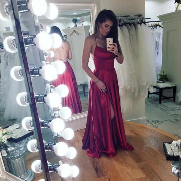 Sexy Prom Dress, Halter Prom Dress, Backless Prom Dress, Prom Dress with Slit