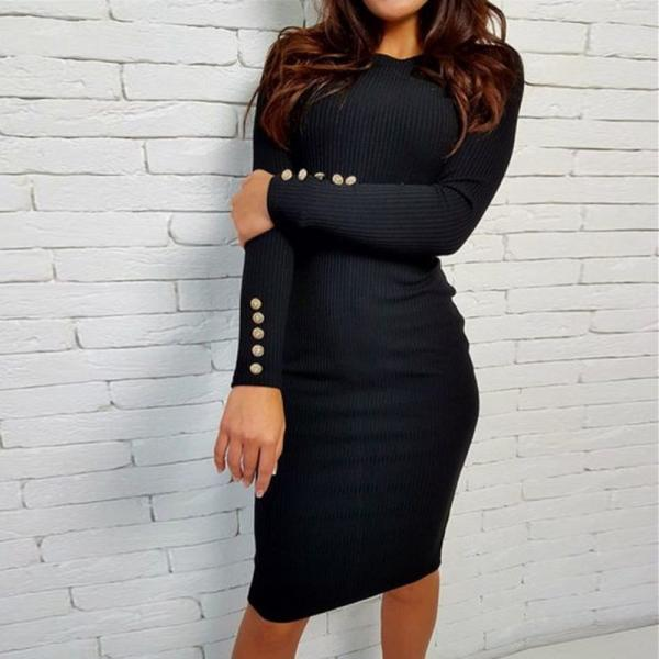 Sexy Bodycon Dress Autumn Winter Knitted Midi Dress