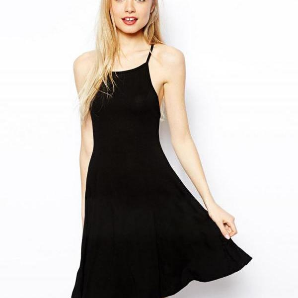 Black Halter Neck Spaghetti Straps Short Skater Dress Featuring Criss-Cross Open Back