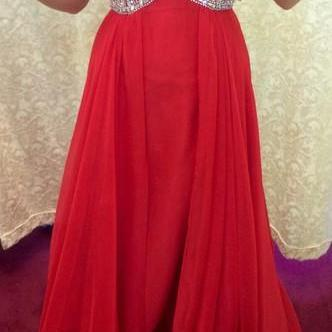 Custom Made A Line Sweetheart Neck Red Long Prom Dresses, Red Long Formal Dresses