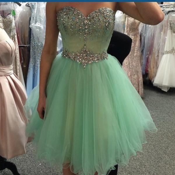 Custom Made A Line Sweetheart Neck Short Prom Dresses, Short Homecoming/Graduation Dresses