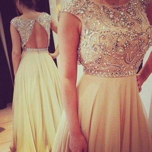 Custom Made A Line Scoop Neck Champagne Long Backless Prom Dresses 2015, Long Evening Dresses, Formal Dresses, Dresses for Prom