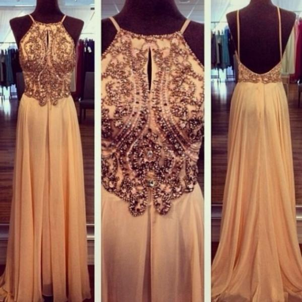 Custom Made A Line Champagne Backless Chiffon Prom Dresses, Backless Bridesmaid Dresses, Wedding Party Dresses, Backless Evening Dresses