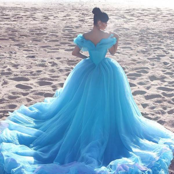 Royal Blue Organza Ruffles Cinderella Dresses,Prom Quinceanera Dresses For Sweet 16