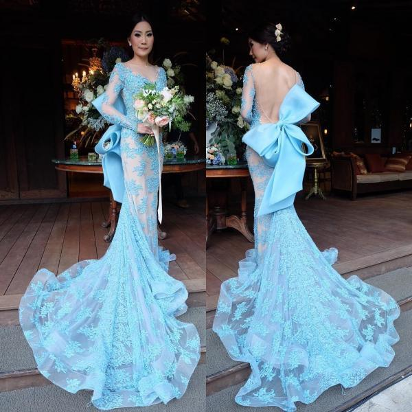 Prom Dresses,Party Dresses,New Arrival Prom Dress,Modest Prom Dress,long sleeves evening dress,mermaid prom dress,bow back prom dress