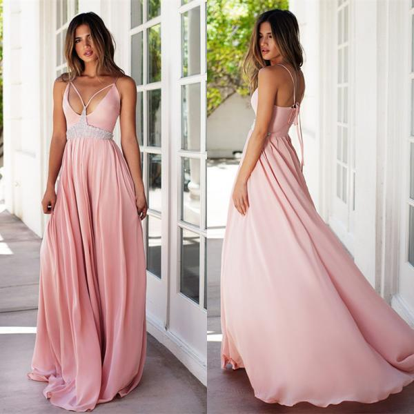 Evening Dresses,prom dress ,long prom dress ,lace prom dress ,party dress Pink V-neck chiffon Bridesmaid dresses Bridesmaid dress