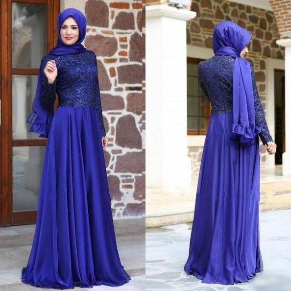 Vestido de Festa 2017 Vintage Muslim Evening Dress Long Sleeve Chiffon High Neck Lace Zipper Back pageant Gown robe de soiree
