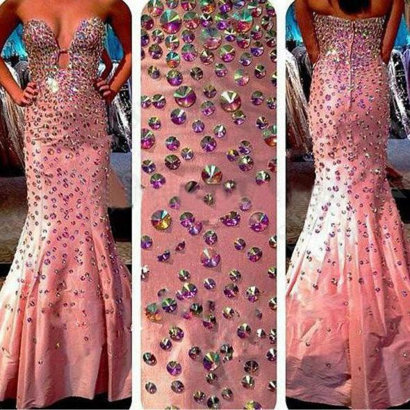 Sexy Prom Dresses,Pink Prom Dress,Crystals Prom Gown,Sparkly Prom Gowns,Elegant Evening Dress,Sparkle Evening Gowns,Mermaid Evening Gowns,2017 Prom Dress For Teens