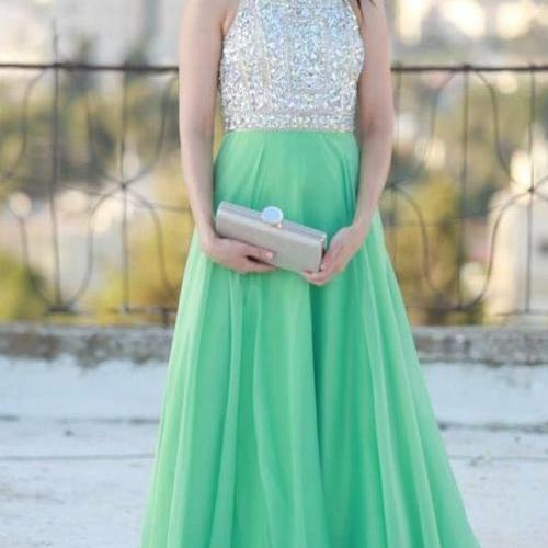 Mint Prom Dresses,A-Line Prom Dress,Beading Prom Dress,O-Neck Prom Dress, Chiffon Prom Dress,Beading Evening Gowns,2017 New Gowns For Teens
